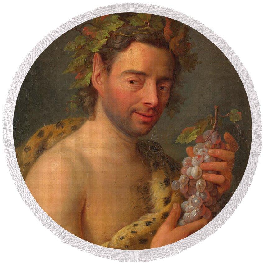 Charles-andre Van Loo Round Beach Towel featuring the painting Bacchus by Charles-Andre van Loo