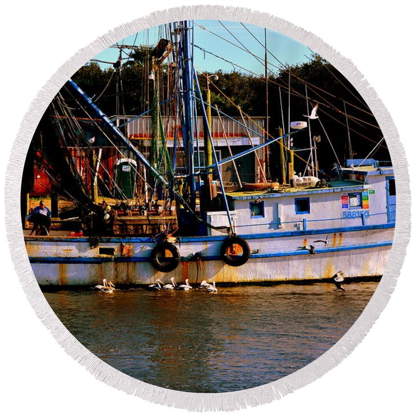 Shrimp Boat Round Beach Towel featuring the photograph Back From A Long Day At Sea by Lisa Wooten