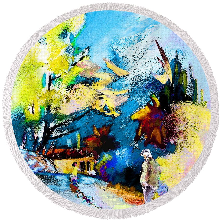 Pastel Painting Round Beach Towel featuring the painting Back Home by Miki De Goodaboom