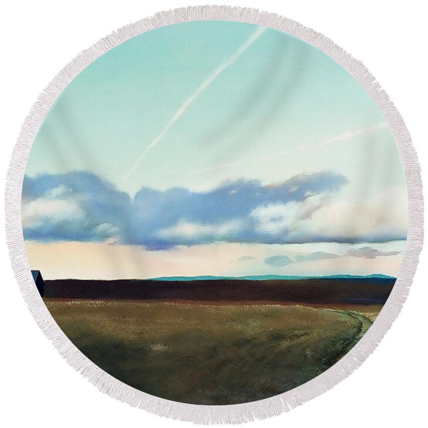 Pennsylvania Farmland Round Beach Towel featuring the painting Back On The Farm by Christopher Shellhammer