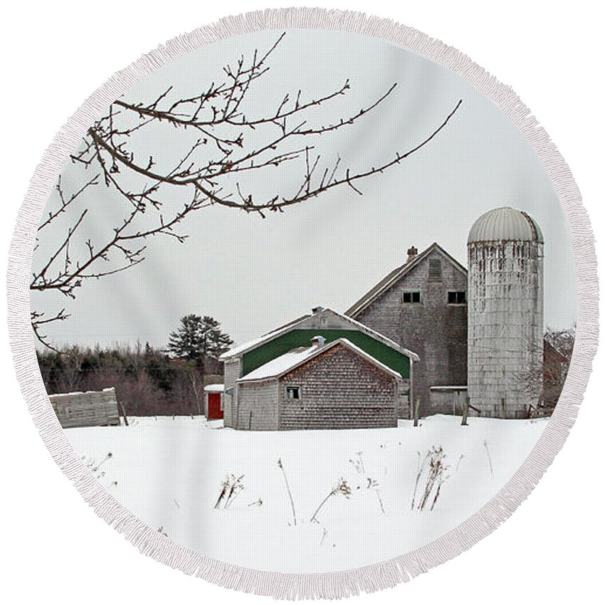 Winter Round Beach Towel featuring the photograph Back Road Find by Laura Mace Rand