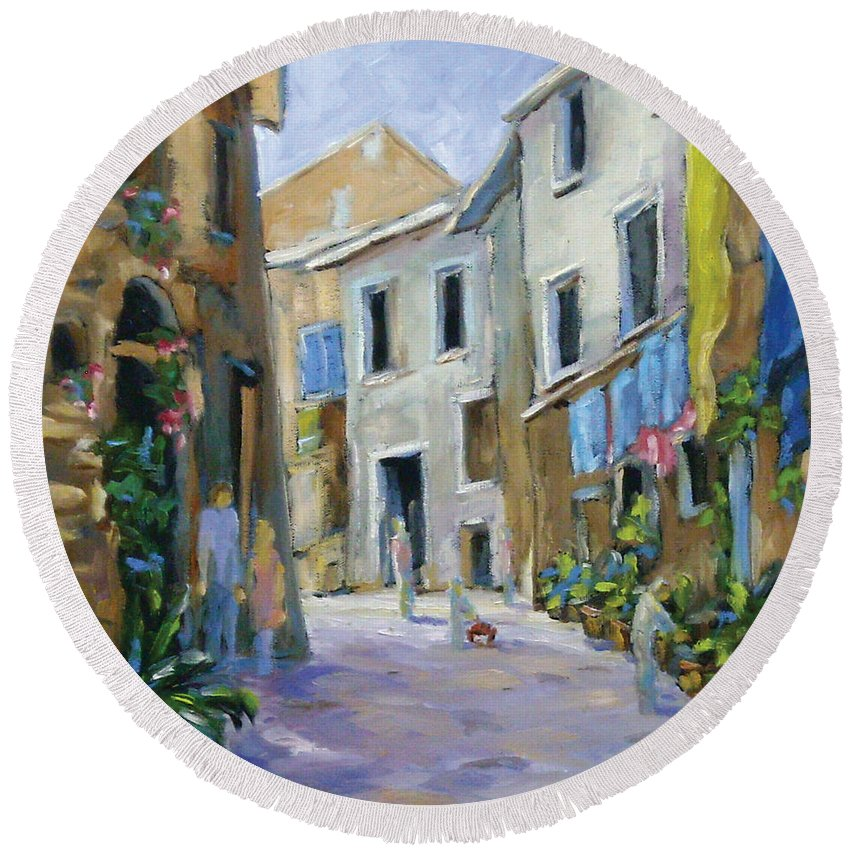 Urban Round Beach Towel featuring the painting Back Street by Richard T Pranke