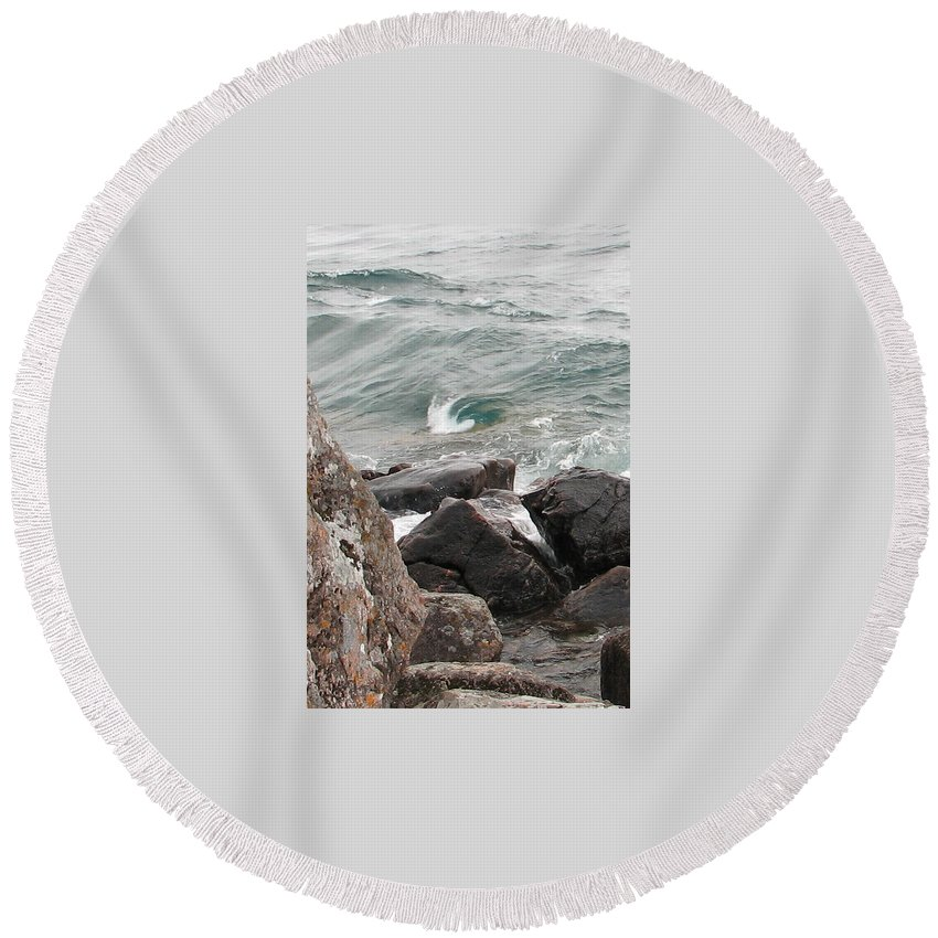 Wave Round Beach Towel featuring the photograph Back Swirl by Kelly Mezzapelle