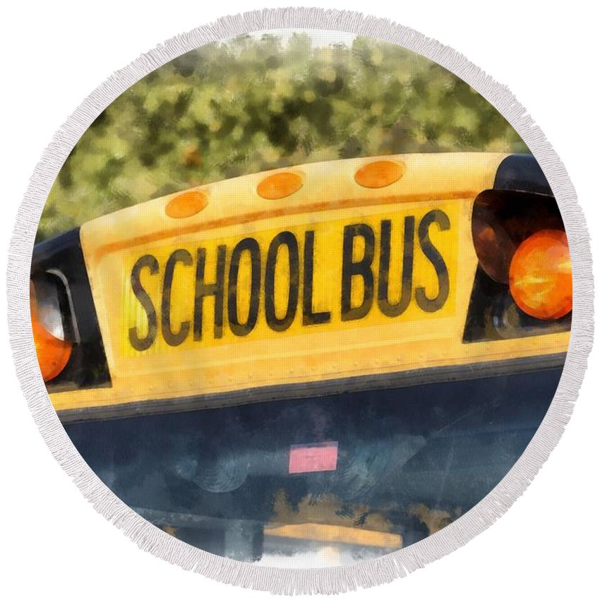 School Round Beach Towel featuring the painting Back To School Bus Watercolor by Edward Fielding