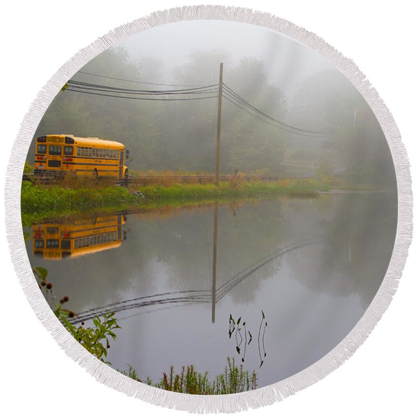 Reflection Round Beach Towel featuring the photograph Back To School by Karol Livote