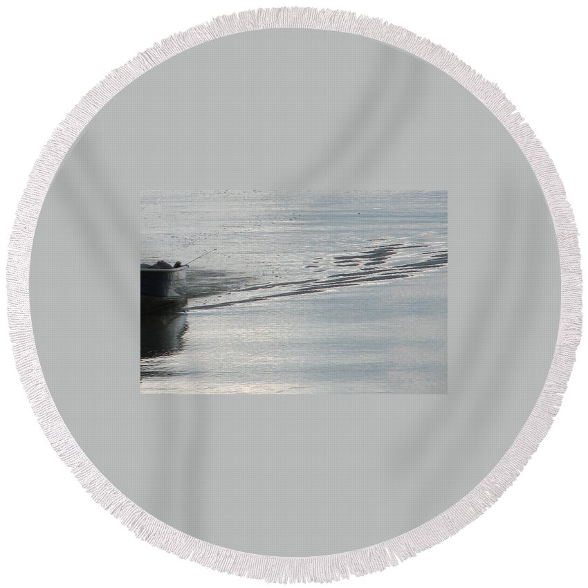 Lake Round Beach Towel featuring the photograph Back To The Dock by Kelly Mezzapelle