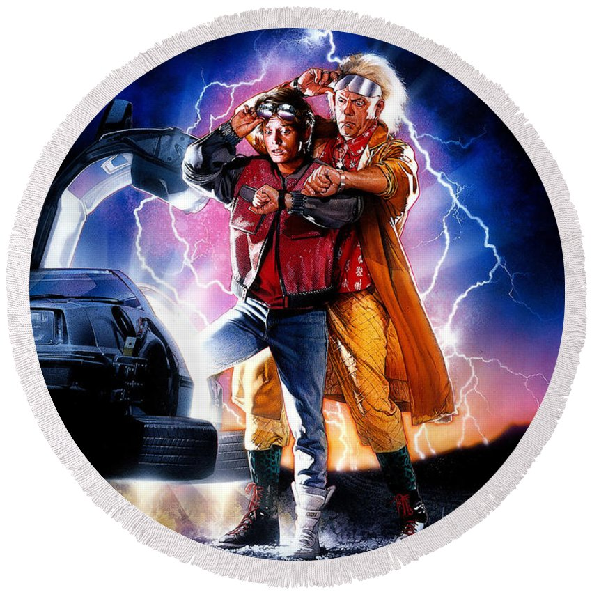 Back To The Future Part Ii 1989 Round Beach Towel For Sale By Geek N Rock