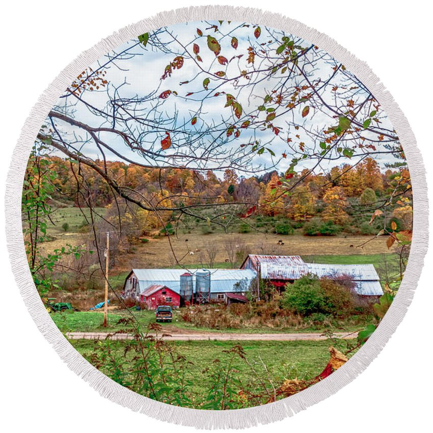 Landscape Round Beach Towel featuring the photograph Backcountry Farm by Ron Christie