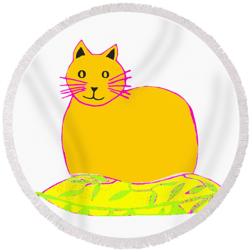 Background Colour Choice Saffron Cat Round Beach Towel featuring the drawing Background Colour Choice Saffron Cat by Barbara Moignard