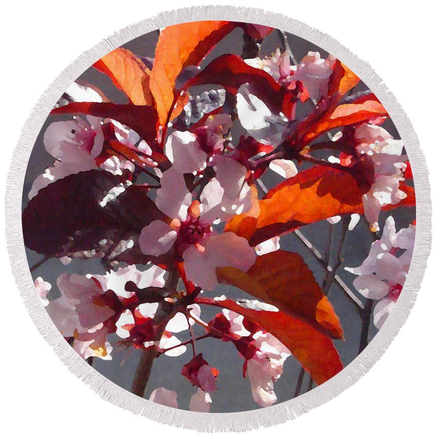 Floral Round Beach Towel featuring the painting Backlit Pink Tree Blossoms by Amy Vangsgard