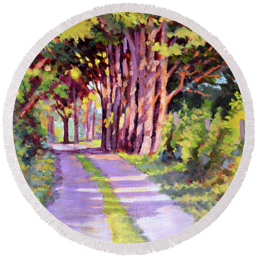 Road Round Beach Towel featuring the painting Backroad Canopy by Keith Burgess
