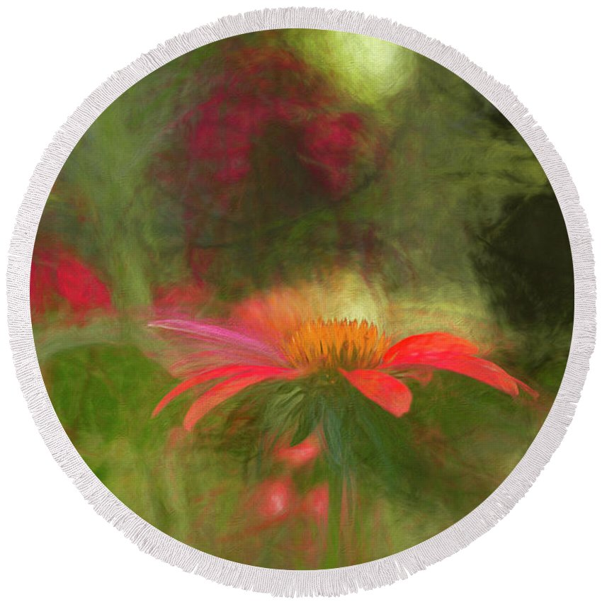 Coneflower Round Beach Towel featuring the photograph Backyard Coneflower by Francis Sullivan