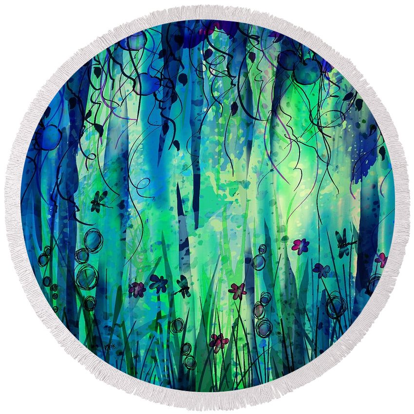Abstract Round Beach Towel featuring the digital art Backyard Dreamer by William Russell Nowicki