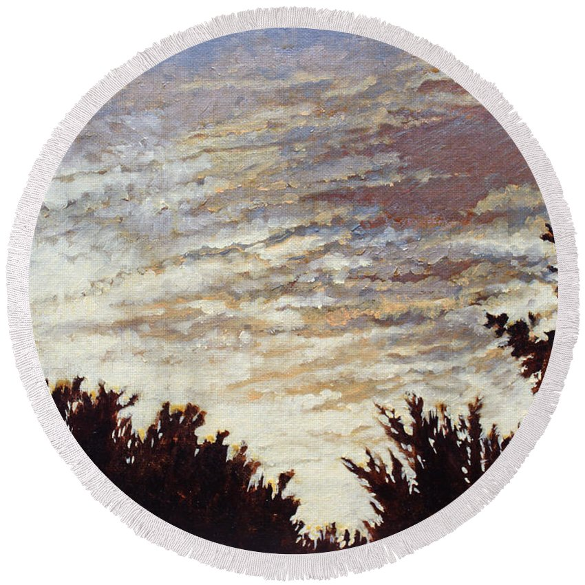 Landscape Round Beach Towel featuring the painting Backyard Sunset by Todd Blanchard