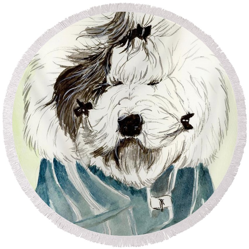 Old English Sheepdog Round Beach Towel featuring the painting Bad Hair Day by Carol Blackhurst