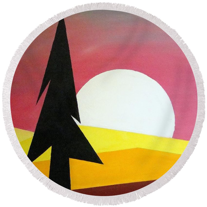 Impressionist Painting Round Beach Towel featuring the painting Bad Moon Rising by J R Seymour