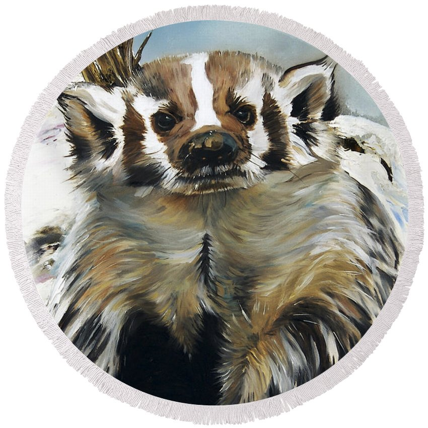 Southwest Art Round Beach Towel featuring the painting Badger - Guardian Of The South by J W Baker