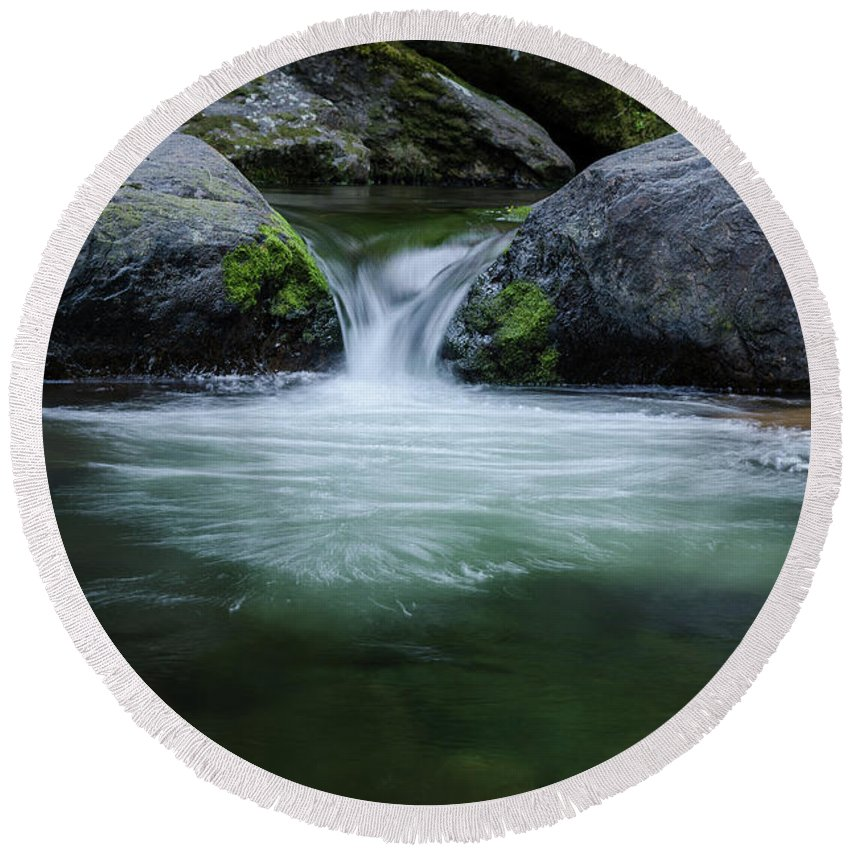 Trees Round Beach Towel featuring the photograph Badger Creek #4 by Robert Tilley