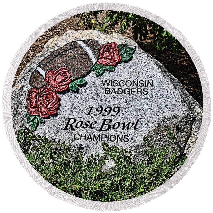Camp Randall Round Beach Towel featuring the photograph Badger Rose Bowl Win 1999 by Tommy Anderson