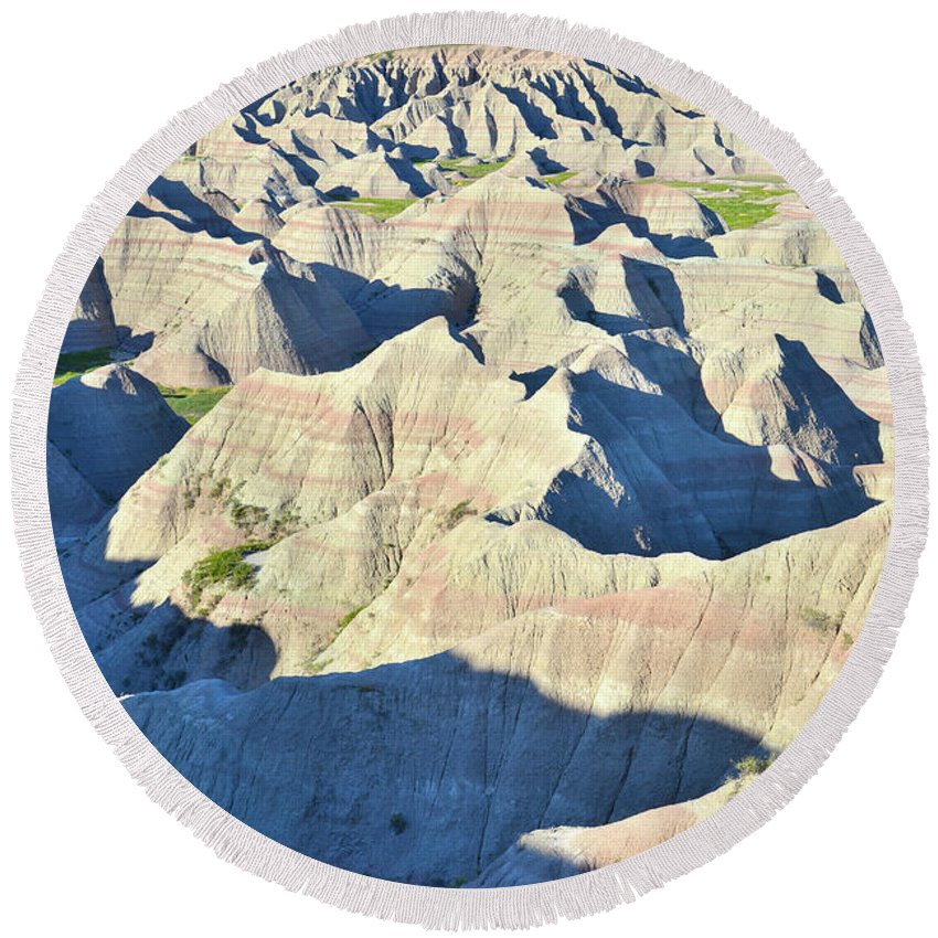 Badlands National Park Round Beach Towel featuring the photograph Badlands National Park by Ray Mathis
