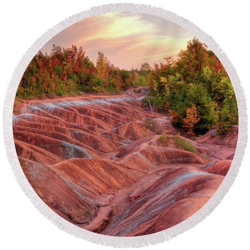 Landscape Round Beach Towel featuring the photograph Badlands by Maxim Images Prints