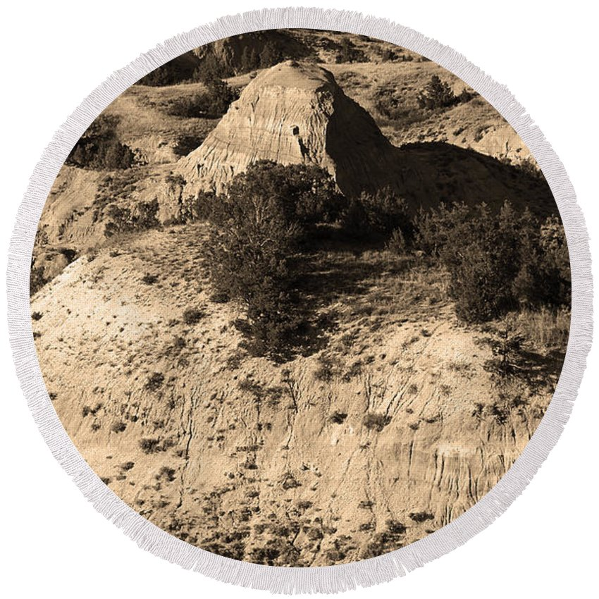 Art Round Beach Towel featuring the photograph Badlands Sepia by Frank Romeo