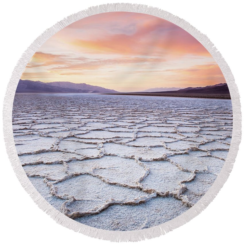 Badwater Round Beach Towel featuring the photograph Badwater by Olivier Steiner