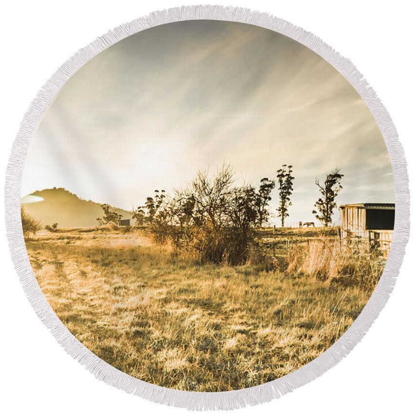 Crisp Round Beach Towel featuring the photograph Bagdad Crisp Winter Countryside by Jorgo Photography - Wall Art Gallery
