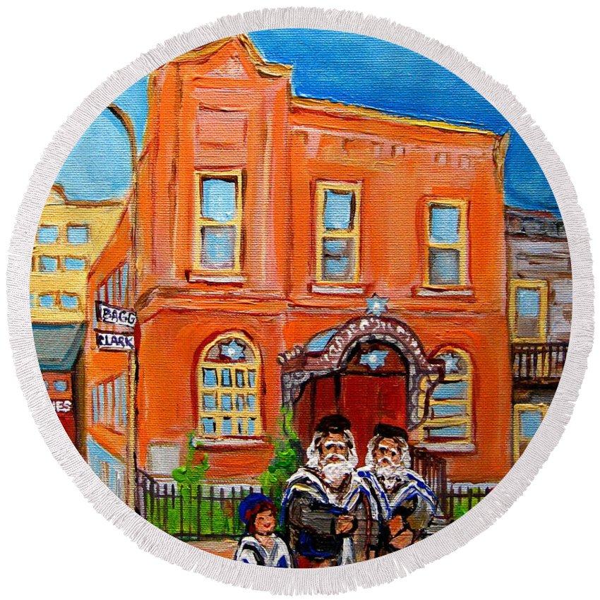 Bagg Street Synagogue Sabbath Round Beach Towel featuring the painting Bagg Street Synagogue Sabbath by Carole Spandau