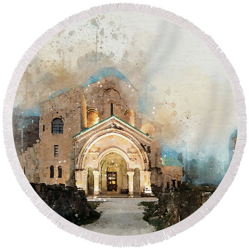 Bagrati Round Beach Towel featuring the digital art Bagrati Cathedral by Ronald Bolokofsky