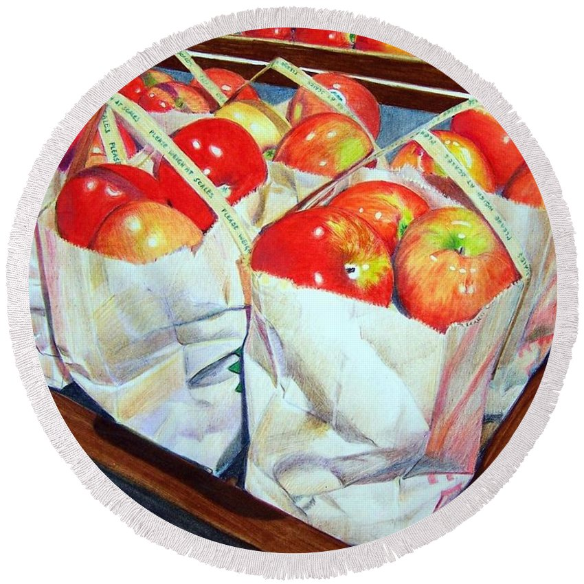Apples Round Beach Towel featuring the mixed media Bags Of Apples by Constance Drescher