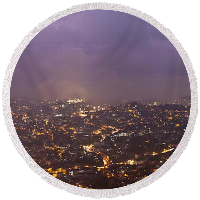 Panoramic Round Beach Towel featuring the photograph Baguio At Night by George Cabig