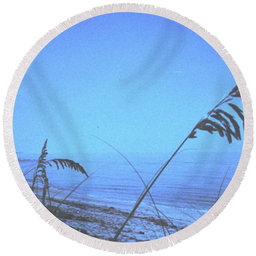 Round Beach Towel featuring the photograph Bahama Blue by Ian MacDonald