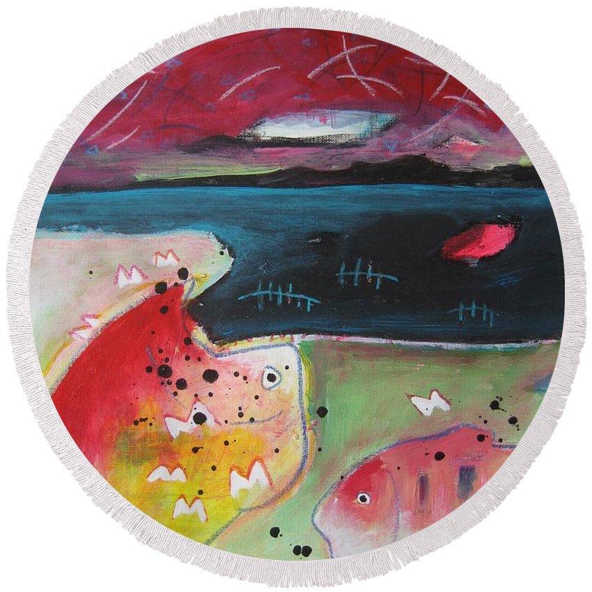Acrylic Paintings Round Beach Towel featuring the painting Baieverte by Seon-Jeong Kim