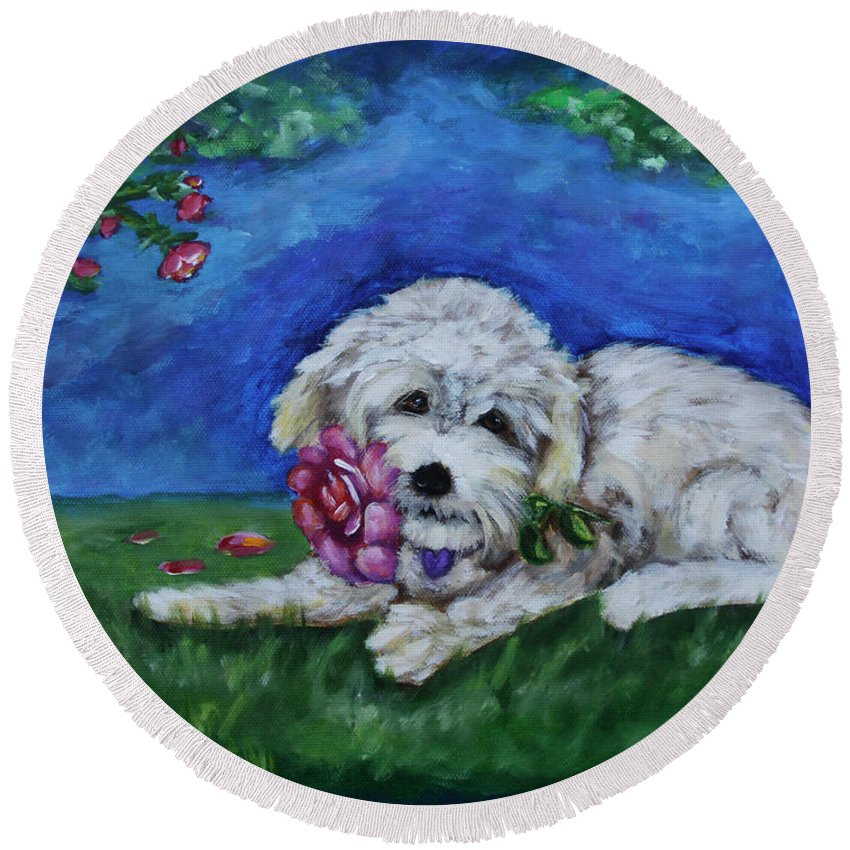 Bailey Round Beach Towel featuring the painting Bailey by Diana Haronis