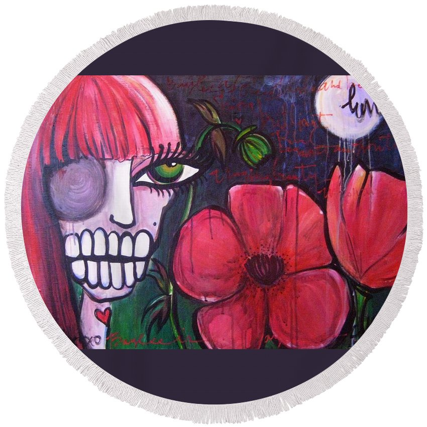 Skulls Round Beach Towel featuring the painting Baylee by Laurie Maves ART