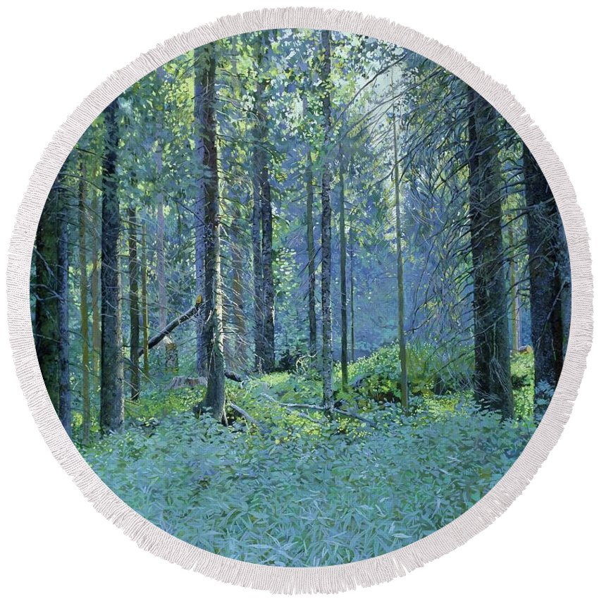 Balaam Round Beach Towel featuring the painting Balaam.thick Of The Forest by Simon Kozhin