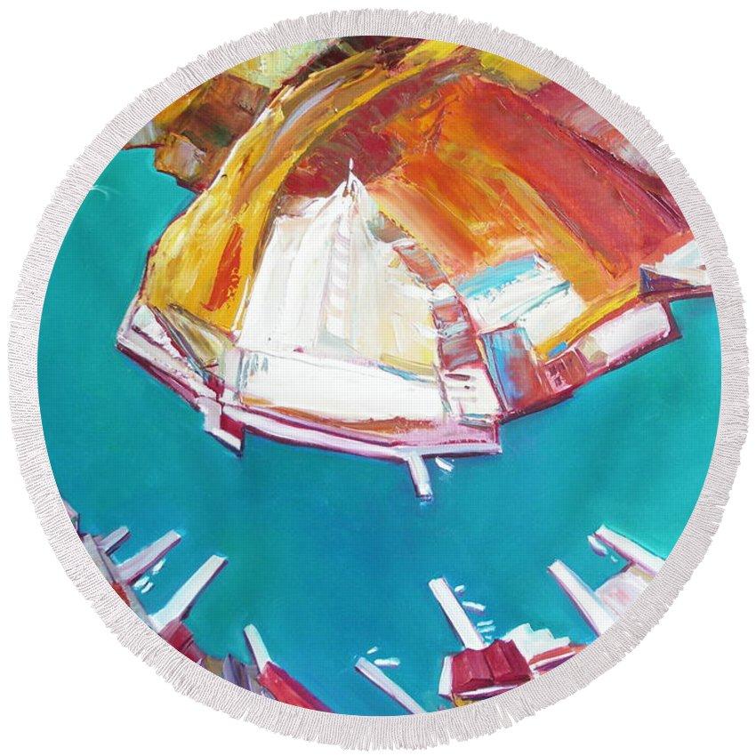 Ignatenko Round Beach Towel featuring the painting Balaklaw Bay by Sergey Ignatenko