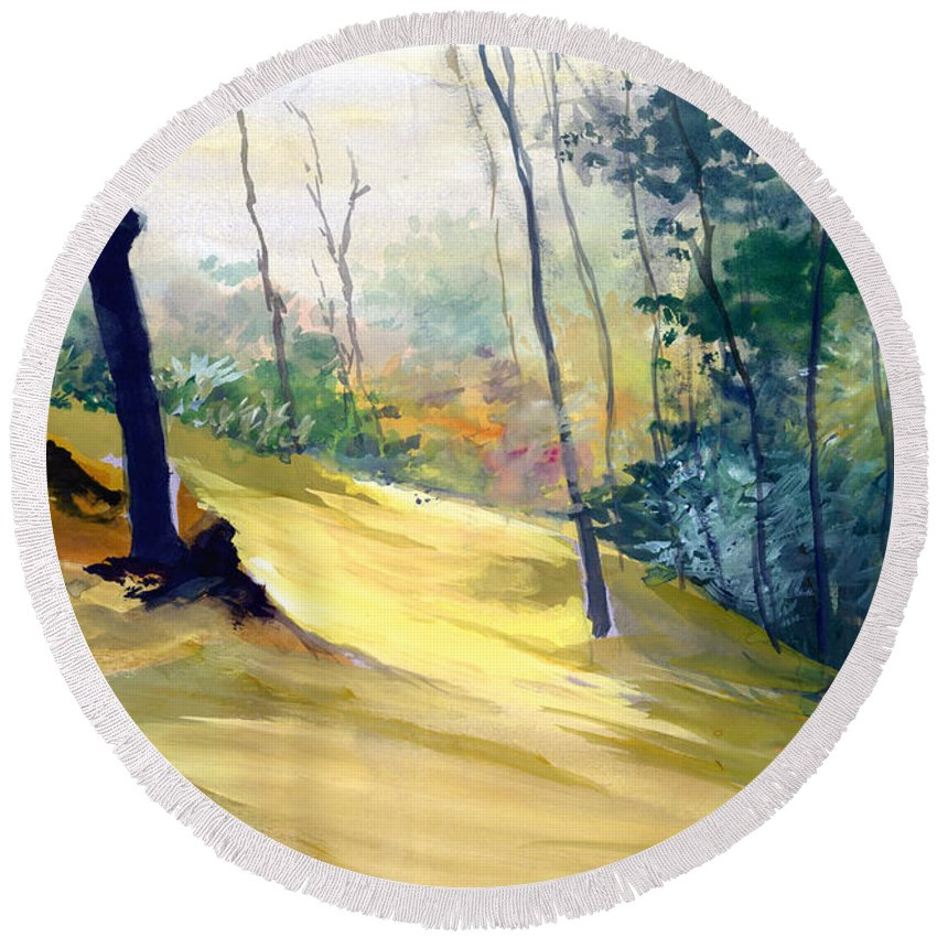 Landscape Round Beach Towel featuring the painting Balance by Anil Nene
