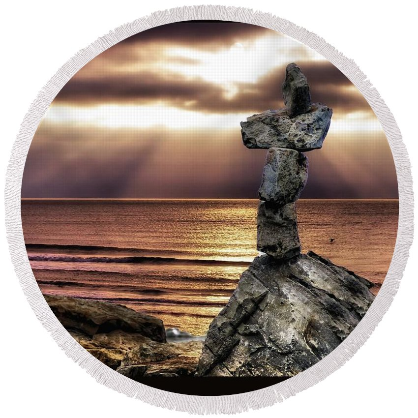 Religion Round Beach Towel featuring the photograph Balance by Cecil Lindsey