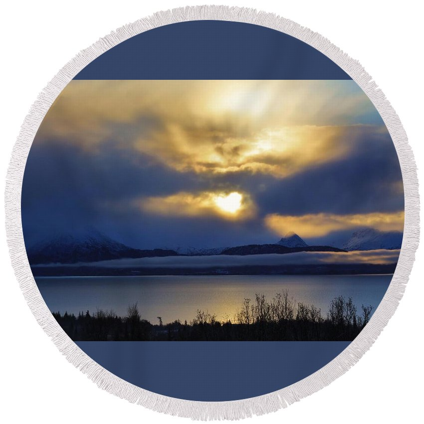 Faces In The Clouds Round Beach Towel featuring the photograph Balance by Lori Mahaffey
