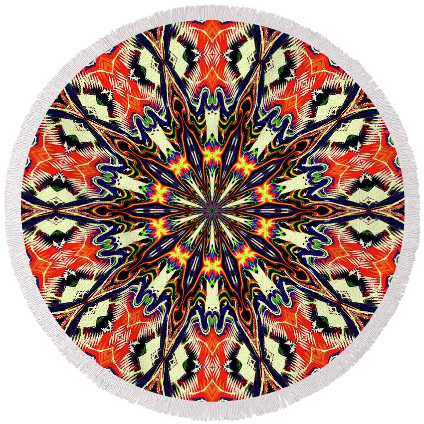 Orange Mandala Round Beach Towel featuring the mixed media Balance Mandala by Natalie Holland