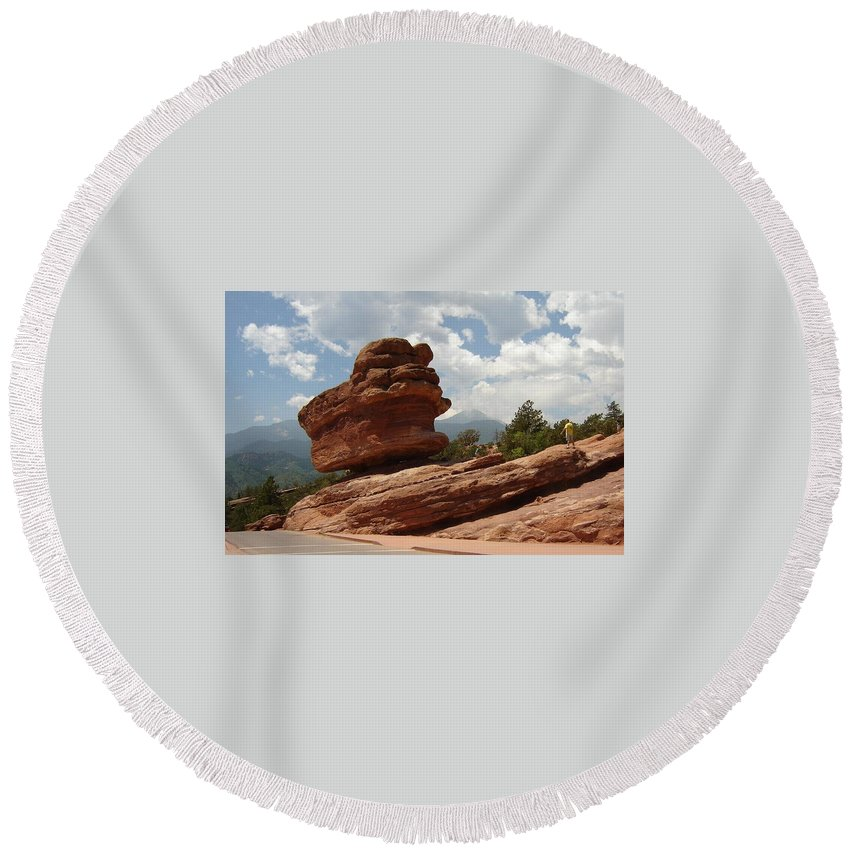 Colorado Round Beach Towel featuring the photograph Balance Rock by Anita Burgermeister