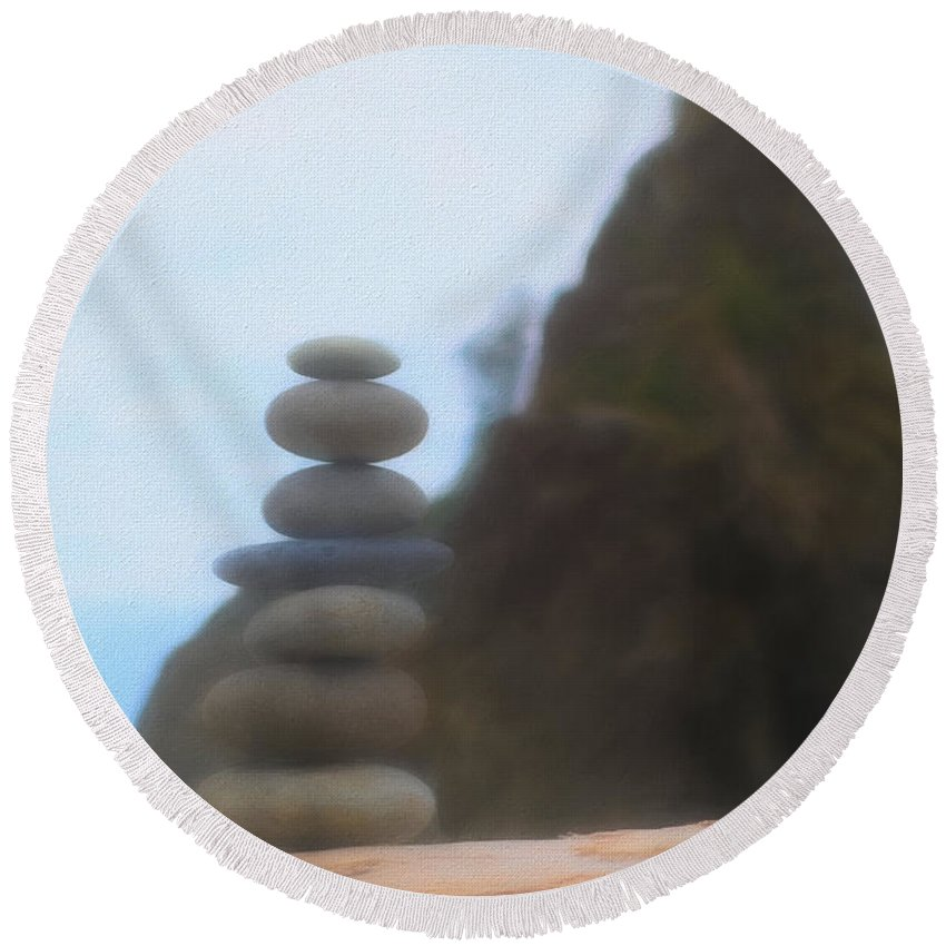 Be Balanced Be At Peace Round Beach Towel featuring the mixed media Balanced Stones At La Push by Dan Sproul
