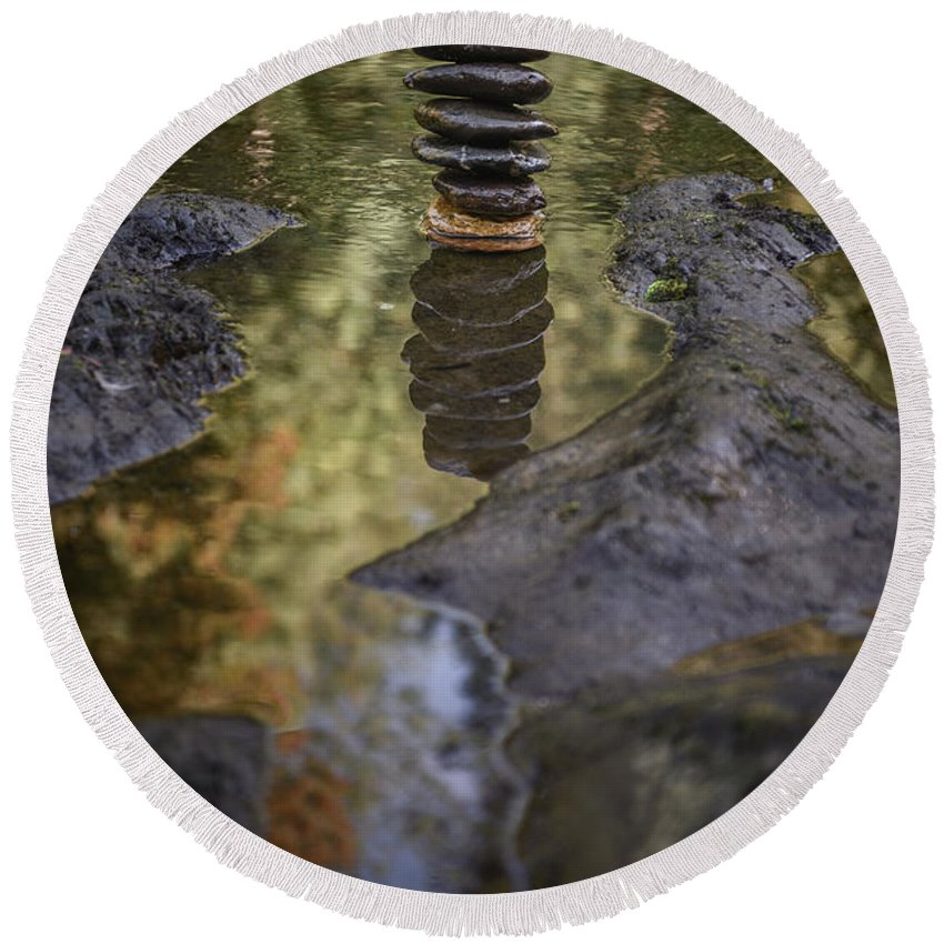 River Round Beach Towel featuring the photograph Balancing Zen Stones In Countryside River X by Marco Oliveira