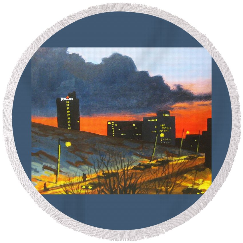 Sunset Round Beach Towel featuring the painting Balcony View 2 by John Malone