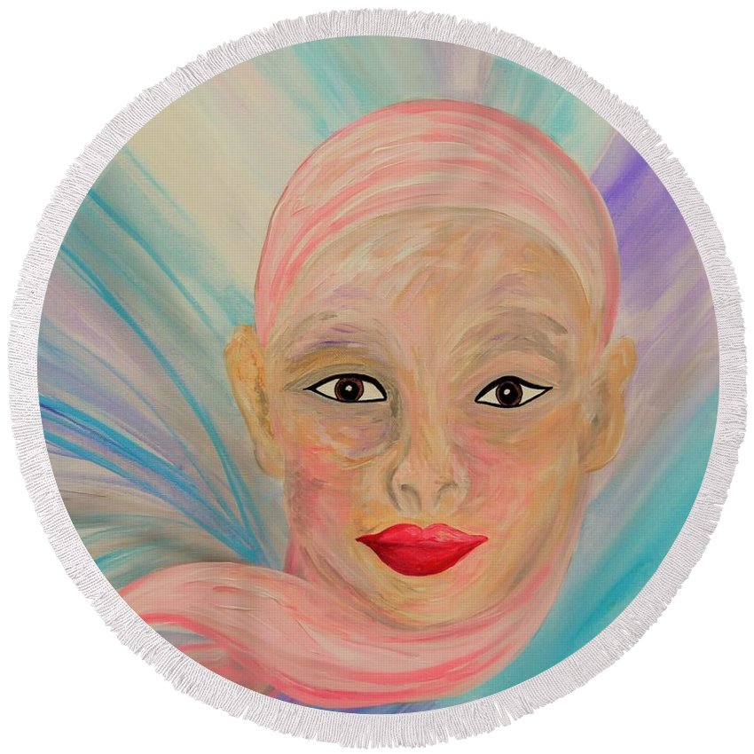 Bald Round Beach Towel featuring the painting Bald Is Beauty With Brown Eyes by Eloise Schneider Mote