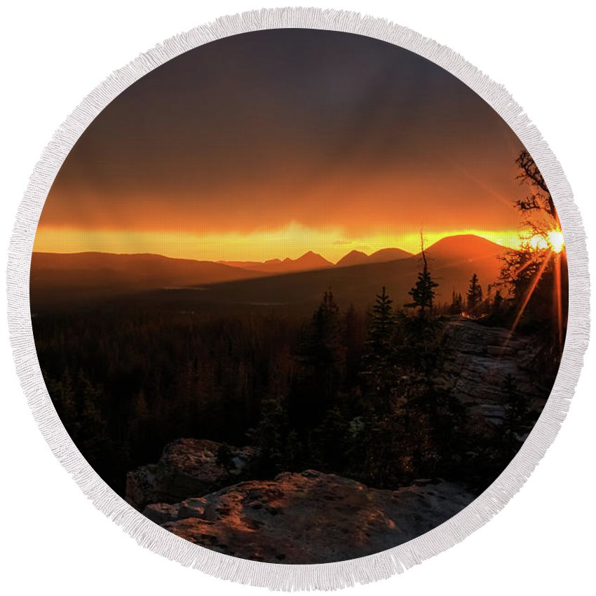 Trailsxposed Round Beach Towel featuring the photograph Bald Mountain Sunset by Gina Herbert