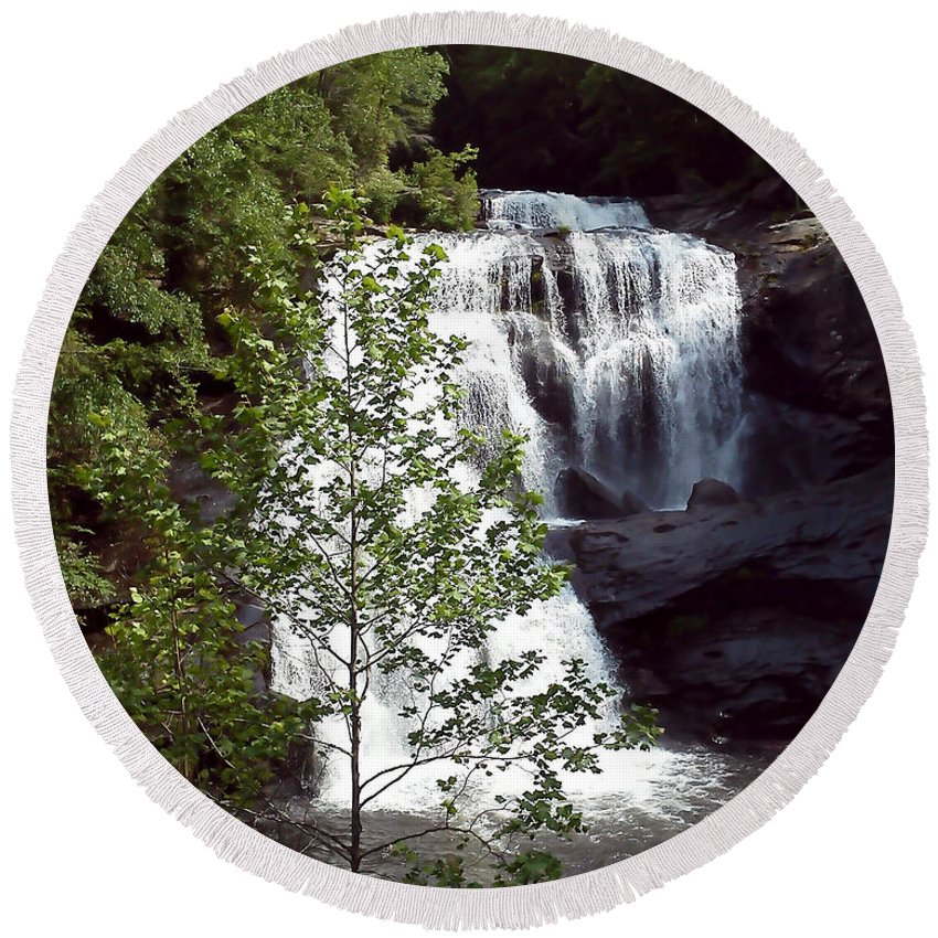 Pat Turner Round Beach Towel featuring the photograph Bald River Falls by Pat Turner