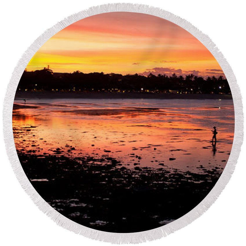 Bali Round Beach Towel featuring the photograph Bali Fisherman Sunset by Mike Reid